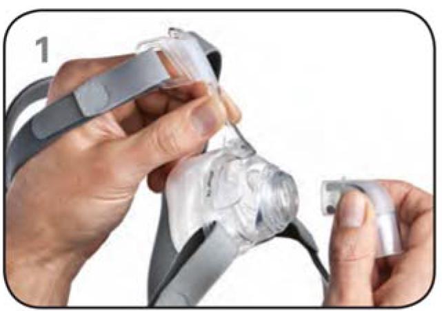 Ajustar máscara nasal Mirage FX Resmed Passo 1