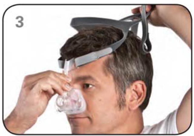 Ajustar máscara nasal Mirage FX Resmed Passo 3