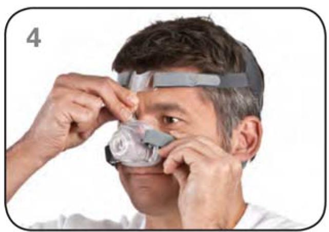 Ajustar máscara nasal Mirage FX Resmed Passo 4