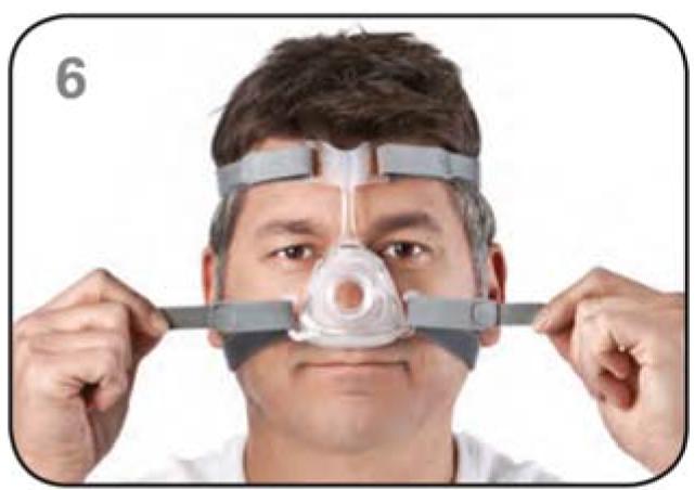 Ajustar máscara nasal Mirage FX Resmed Passo 6